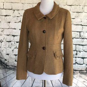J. Crew Tan Wool Blend blazer with ruffle pockets